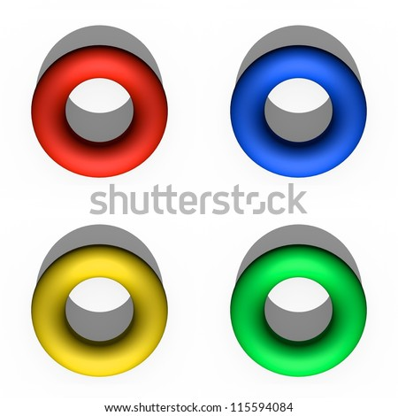 Illustration 3d donuts isolated against a white background