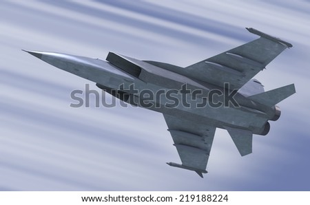 illustration 3d model of jet-fighter - stock photo
