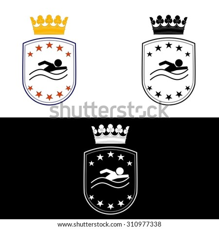 illustration dedicated to the  coat of arms  for swimming . - stock photo