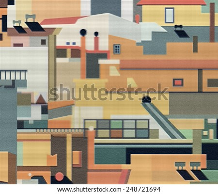 illustration. Densely built houses in the city of Athens in Greece. Architectural Chaos - stock photo