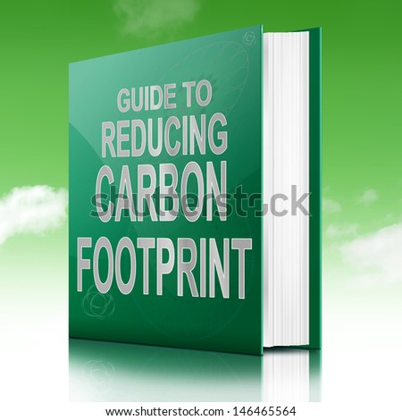 Illustration depicting a book with a carbon footprint concept title. Sky background. - stock photo