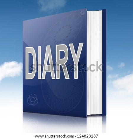 Illustration depicting a book with a diary concept title. Sky background.