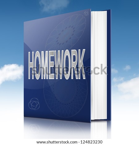 Illustration depicting a book with a homework concept title. Sky background.