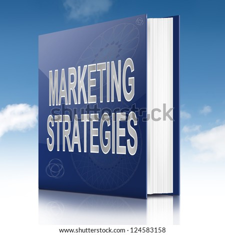 Illustration depicting a book with a marketing strategies concept title. Sky  background.