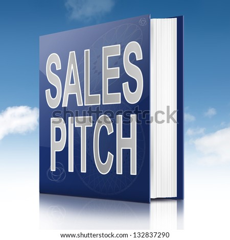 Illustration depicting a book with a sales pitch concept title. Sky background.