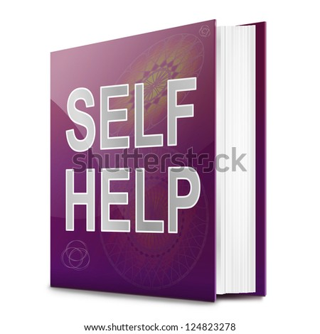 Illustration depicting a book with a self help concept title. White background. - stock photo