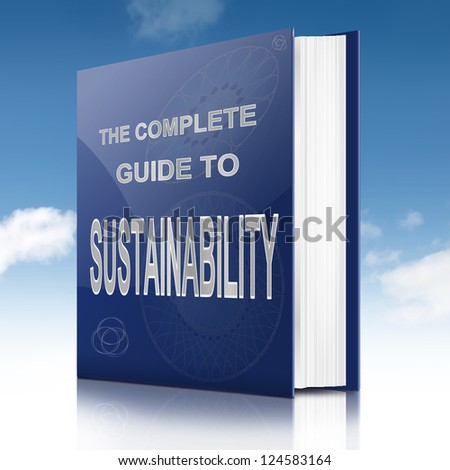 Illustration depicting a book with a sustainability concept title. Sky background.