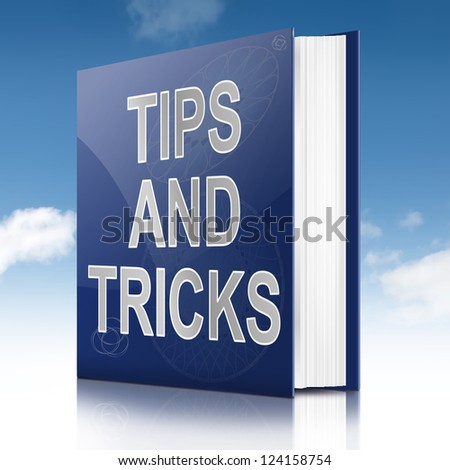 Illustration depicting a book with a tips and tricks concept title. Sky background.