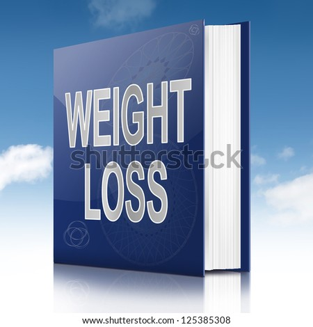Illustration depicting a book with a weight loss concept title. Sky background.
