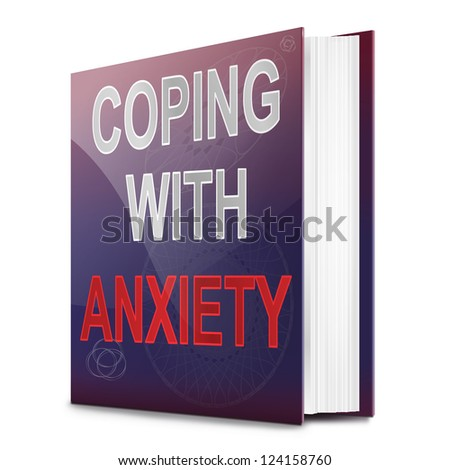 Illustration depicting a book with an anxiety concept title. White background. - stock photo
