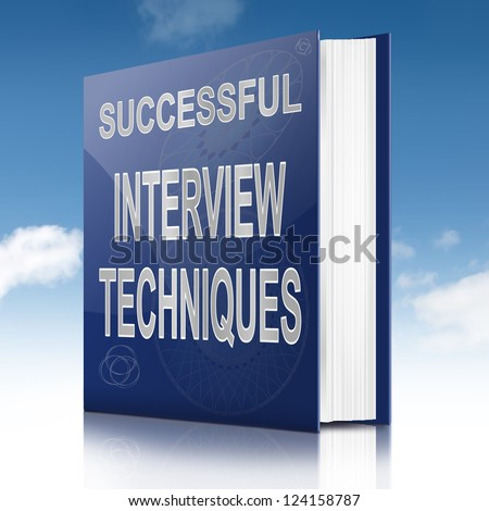 Illustration depicting a book with an interview technique concept title. Sky background.
