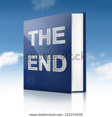 Illustration depicting a book with the end concept title. Sky background.