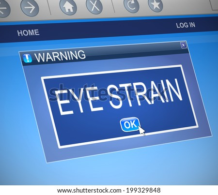 Illustration depicting a computer dialog box with an eye strain concept. - stock photo