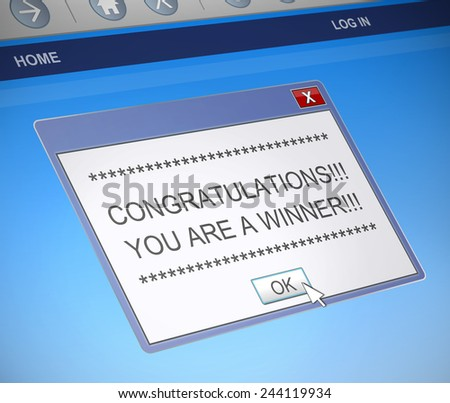 Illustration depicting a computer message box with a winner concept. - stock photo