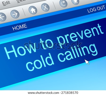 Illustration depicting a computer screen capture with a cold calling concept. - stock photo