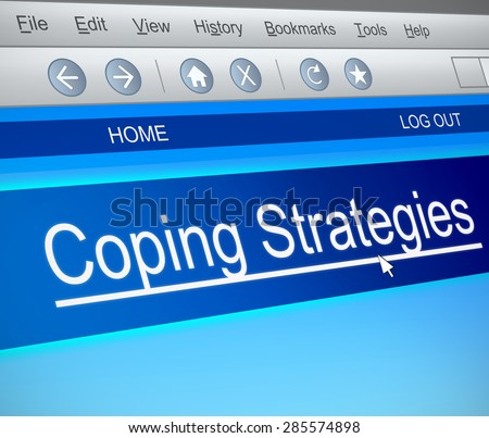 Illustration depicting a computer screen capture with a coping strategies concept. - stock photo