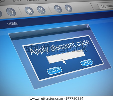 Illustration depicting a computer screen capture with a discount code concept. - stock photo