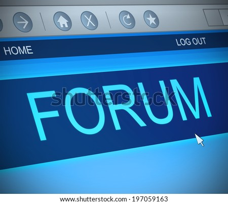 Illustration depicting a computer screen capture with a forum concept.