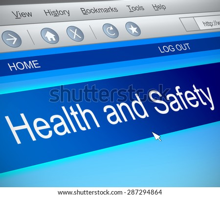 Illustration depicting a computer screen capture with a health and safety concept. - stock photo