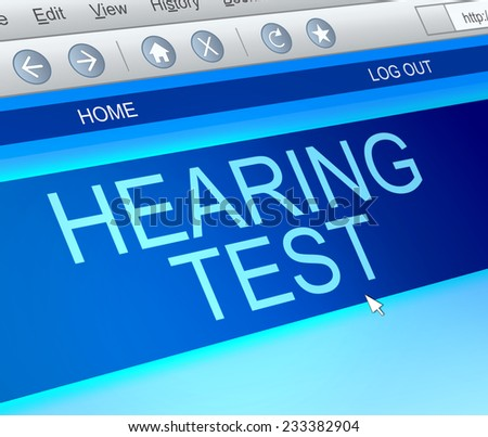 Illustration depicting a computer screen capture with a hearing test concept. - stock photo