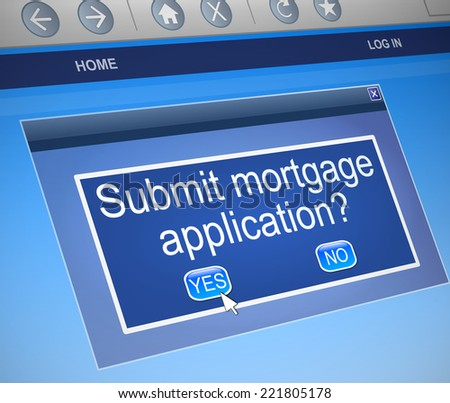 Illustration depicting a computer screen capture with a mortgage concept. - stock photo