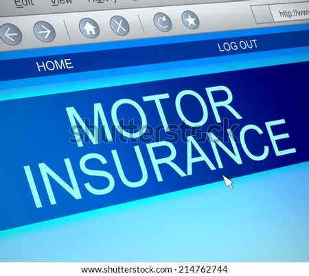 Illustration depicting a computer screen capture with a motor insurance concept. - stock photo