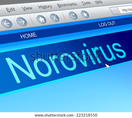 Illustration depicting a computer screen capture with a norovirus concept. - stock photo