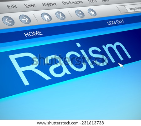 Illustration depicting a computer screen capture with a racism concept. - stock photo