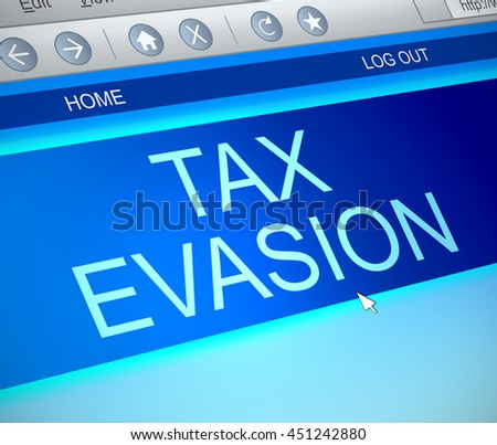 Illustration depicting a computer screen capture with a tax evasion concept. - stock photo
