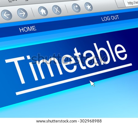 Illustration depicting a computer screen capture with a timetable concept. - stock photo