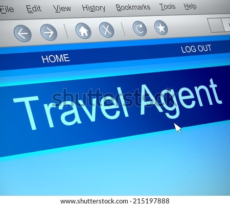 Illustration depicting a computer screen capture with a Travel agent concept. - stock photo