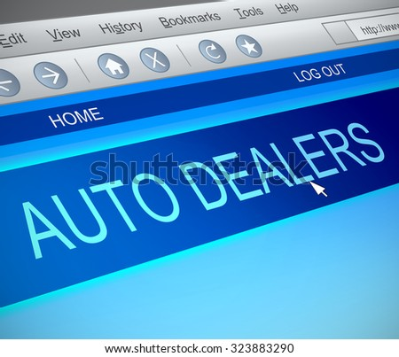 Illustration depicting a computer screen capture with an auto dealers concept. - stock photo