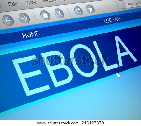 Illustration depicting a computer screen capture with an Ebola concept. - stock photo