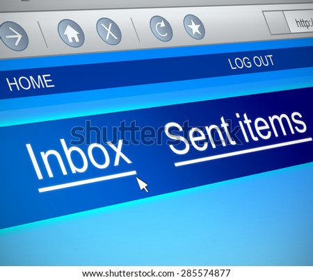 Illustration depicting a computer screen capture with an inbox concept.