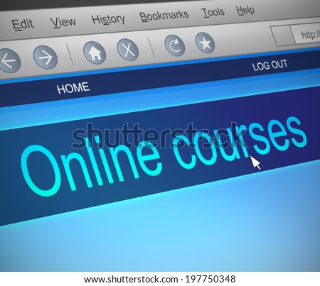 Illustration depicting a computer screen capture with an online courses concept. - stock photo