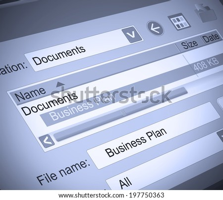 Illustration depicting a computer screen shot with a Business plan document concept.