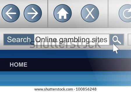 Illustration depicting a computer screen shot with an online gambling search concept. - stock photo