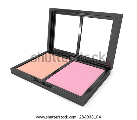 Illustration depicting a cosmetic blusher compact powder arranged over white. - stock photo