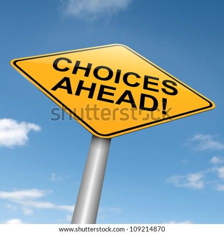 Illustration depicting a directional roadsign with a choices concept. Blue sky background. - stock photo