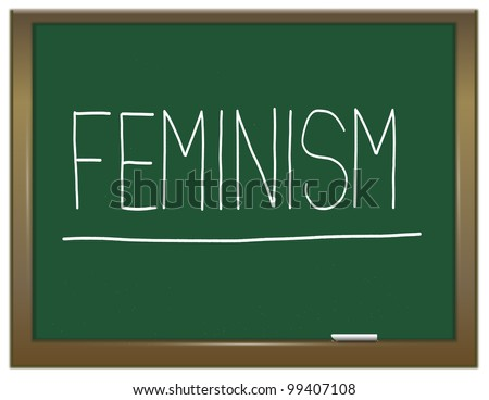 Illustration depicting a green chalkboard with a feminism concept written on it. - stock photo