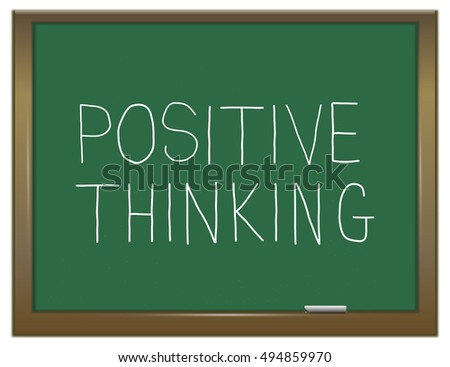 Illustration depicting a green chalkboard with a positive thinking concept.