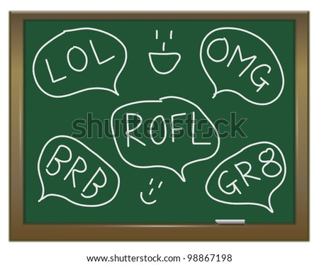 Illustration depicting a green chalkboard with a text talk concept written on it. - stock photo