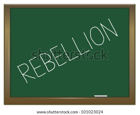 Illustration depicting a green chalkboard with the word 'rebellion'.