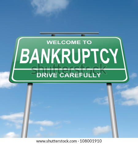 Illustration depicting a green roadsign with a bankruptcy concept. Blue sky background. - stock photo
