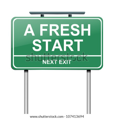 Illustration depicting a green roadsign with a fresh start concept. White background. - stock photo