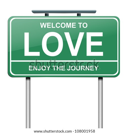 Illustration depicting a green roadsign with a love concept. White background.