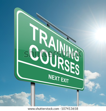 Illustration depicting a green roadsign with a training courses concept. Blue sky background. - stock photo