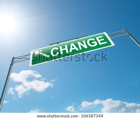 Illustration depicting a highway gantry sign with a change concept. Blue sky background. - stock photo