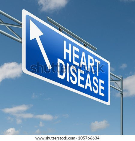 Illustration depicting a highway gantry sign with a heart disease concept. Blue sky background.