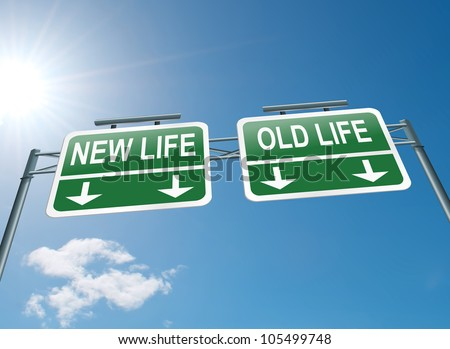 Illustration depicting a highway gantry sign with a new life or old life concept. Blue sky background. - stock photo